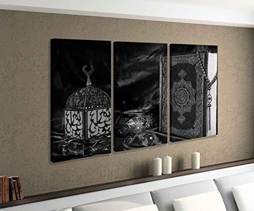 Leinwandbild 3 tlg Türkei Koran Buch rot türkisch Islam arabische Schrift schwarz weiß Bild Bilder Leinwand Leinwandbilder Holz Wandbild mehrteilig 9W757, 3 tlg BxH:120x80cm (3Stk 40x 80cm)
