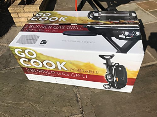 GO Cook BBQ Twin Burner Portable Barbecue Grill