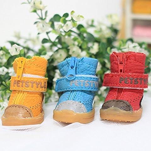 2 Haga doble perro perros caniche zapatos Zapatos para otoño e invierno parche tendón vacuno calzado bichón pomerania fris,perros pequeños zapatos de algodón,Blue,1: largo