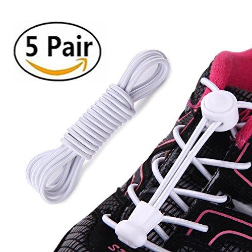 5 Paar Sport schnellschnürsystem Schnürsenkel Schnellverschluss Elastische Schnürsenkel mit Lock Laces ideal als Sportschnürsenkel für einzigartigen Komfort, perfekten Sitz und starken (weiße)