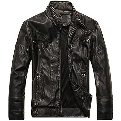 WanYang Para Hombre Chaqueta De Motorista Real Cuero Vendimia Top De Cuero De Abrigos De Moda Para Hombre Chaqueta Mens Fashion