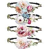 Haarband mit Große Blumen, MOOKLIN Stirnband Haarband Kopfschmuck Haarbänder Mehrfarbig Blume Haarreife mit elastischem Band für Frauen Mädchen Festival Hochzeit und Party