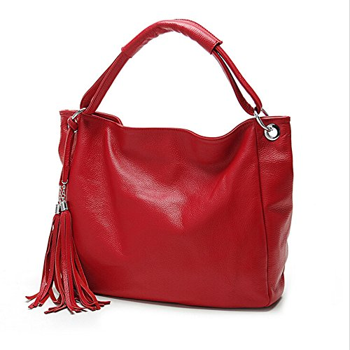 BYD - Donna Female Borse a mano Colore puro High Quality PU Leather Mutil Function Fashion School Bag Work Office Bag Borse Tote Bag Fringe Rosso