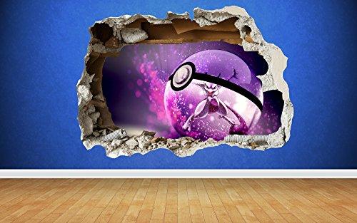 Preisvergleich Produktbild Pokemon Go Mewtwo 3D Stil zerstörten Wand Aufkleber Kinder Schlafzimmer Vinyl, Large: 80cm x 58cm
