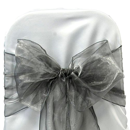 EDS Organza-Stuhl-Schleife, Stuhl-Band, Schärpe, für Hochzeiten, als Dekoration, mehr als 30Farben, 25 Stück grau Round Table Cover Hochzeit
