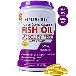 HealthyHey Premium Quality Fish Oil - Omega 3, Mercury Free, Double Strength (1000 MG), Burpless, , 60 Softgel | EPA 300 - DHA 200 Supplement