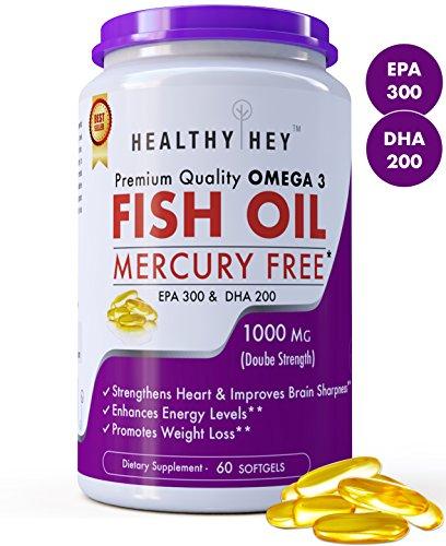 HealthyHey Premium Quality Fish Oil - Omega 3, Mercury Free,...
