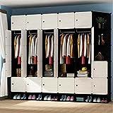 Yigui Tragbare Kleiderschrank Kleiderschrank Schlafzimmer Schrank Kommode Cube Storage Organizer, 27 Würfel und 5 Hängeabschnitte + Schuhkarton