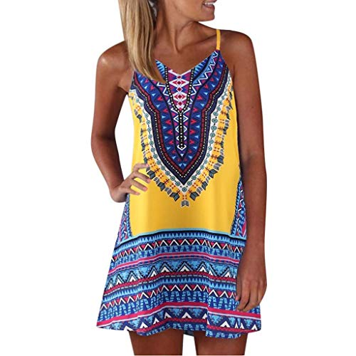 VEMOW Sommer Elegante Damen Frauen Lose Vintage Sleeveless 3D Blumendruck Bohe Casual Täglichen Party Strand Urlaub Tank Short Mini Kleid - Retro Mini Shorts