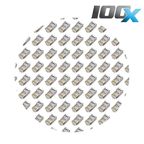 100 Stück Netzwerk [LAN] Kabel RJ45 abgeschirmte Modular-Metallstecker, Crimpendstücke, transparent 8P8C STP Ethernet Netzwerkkabel Stecker Crimp Vergoldet -