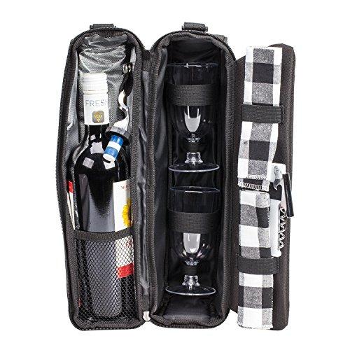 ALLCAMP Deluxe Black Wine Bag mit Flasche Zubehör, Weinträger-Einkaufstasche für Zwei Personen (Schwarz)