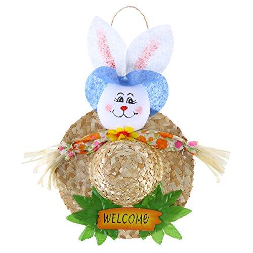 ekoration Ostern Ornament Tür Kleiderbügel Ostern Bunny Stroh hat (blau) (Osterhase Zu Hause Dekorationen)