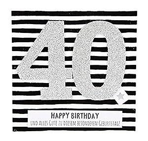 Depesche 8211.004Tarjeta de felicitación Glamour con Ornamento y Purpurina, 40. Cumpleaños