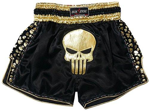Boxsense Retro Muay Thai Kick Boxen Hosen Shorts : BXSRTO-011-BKGD Size L