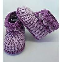 Patucos de ganchillo hechos a mano, para bebés de 0-3 meses. Temporada