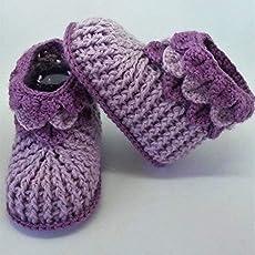Patucos de ganchillo hechos a mano, para bebés de 0-3 meses. Temporada Otoño-Invierno.