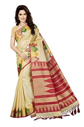 Rani Saahiba Art Bhagalpuri Silk Printed Saree ( SKR3523_Beige - Red )