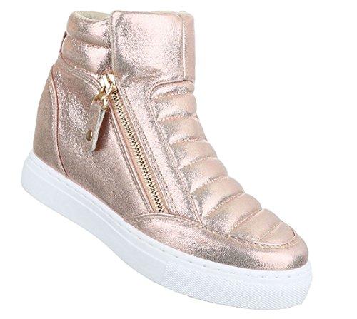 Damen Freizeitschuhe Schuhe Keilabsatz Wedges Sneakers Stiefelette Bronze  Rosa Silber 36 37 38 39 40 41 aa7bda216c
