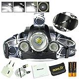 BORUiT LED Stirnlampe Super Hell 1*XM-L2+2*R2 6000LM Kopfleuchte Wiederaufladbar Scheinwerfer Wasserdicht Headlight Verbesserte Aussenleuchten mit SOS Pfeife/Mikro-USB-Port/gegen Überladen Akkus
