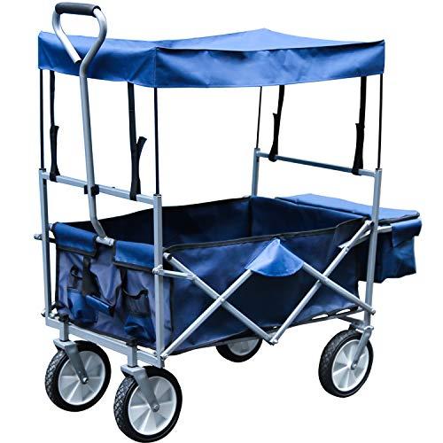 Faltbarer Bollerwagen mit Dach Handwagen Klappbar Gartenwagen Transportkarre Belastbar bis 80kg, 360 ° Drehbar Räder, inkl Hecktasche Rot/Blau Transportwagen
