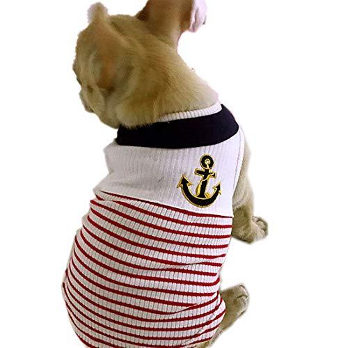 PZSSXDZW Haustierhundekostüm 2019 Marineblauer Matrosenanzug mit Stickerei T-Shirt Hundebekleidung Geeignet für große, mittlere und kleine Hunde,rot,XS