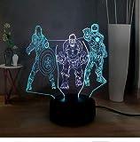 Mixed Dual Multicolor 3D Illusion Lamp Marvel Figures Captain America Hulk Iron Man Comic Superhero Led Bedroom