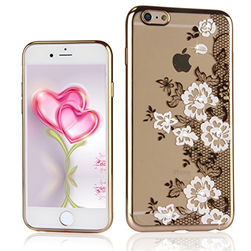 iPhone 6 / 6s Coque Housse Etui, iPhone 6s or Coque en Silicone Placage Coque Clair Ultra-Mince Etui Housse avec Bling Diamant, iPhone 6 / 6s Silicone Case Gold Slim Soft Gel Cover with Diamond, Ukayf White lace fleurs