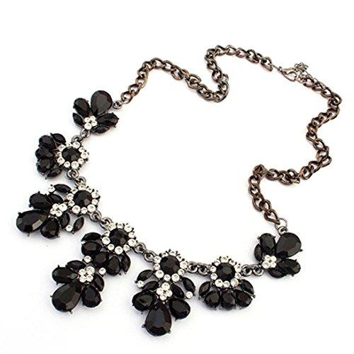Sunnywill Jahrgang Blume Crystal Blase Bib Choker Halskette für Frauen Mädchen Damen (Schwarz) (Strass-kreuz-snap)