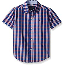 Nautica Boys' Short Sleeve Two Tone Check Shirt
