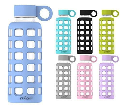 purifyou Premium cristal botella de agua con funda de silicona y tapa