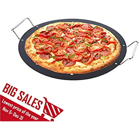 15-inch BBQ Pizza Pan, Arctic Monsoon, Non-stick Safety Coated Thick Gauge Cold Rolled Steel Material Grill Topper Pizza Stone, Black by