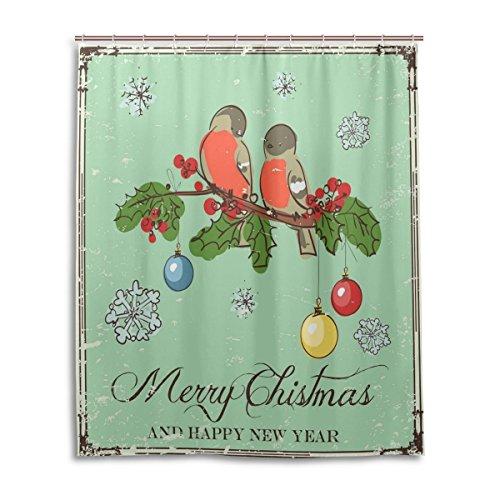 Palmette Ornament (Merry Christmas Bath Duschvorhang 152,4x 182,9cm, Vintage xmas ornaments Vogel, Polyester-Schimmelfest-Badezimmer Vorhang)