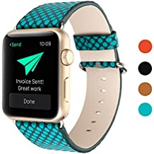 Sumgar Banda de Reloj de Cuero Genuino de Repuesto con Cierre de Adaptador de Metal para Apple Watch & Sport & Edition (Verde,38mm)