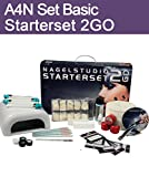 Aktive4Nails Nagestudio Starterset 2Go UV Gelset Nagelgel Set im Koffer Nailart + 1x COLOR GEL GRATIS Goldglitter Perlmutt 5ml Nr. 205 gut deckend