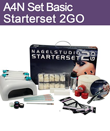 Aktive4Nails Nagestudio Starterset 2Go UV Gelset Nagelgel Set im Koffer Nailart + 1x COLOR GEL GRATIS Colorgel Dunkellila 5ml Nr. 209 leicht zu verarbeiten selbstglättend