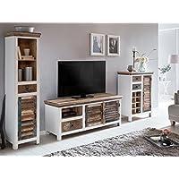 AuBergewohnlich Woodkings® Wohnwand Perth 3teilig Weiß Bunt Antik Vintage Lowboard TV Bank  Kommode Weinregal Hochschrank