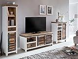 Woodkings® Wohnwand Perth 3teilig weiß bunt antik Vintage Lowboard TV-Bank Kommode Weinregal Hochschrank recyceltes Hartholz Schränke Wohnmöbel