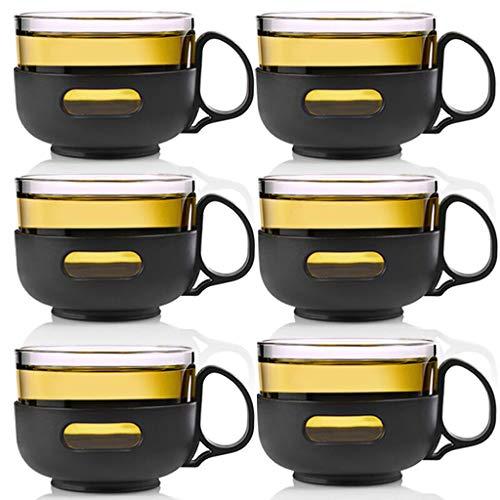 Teekanne Teetasse 150ml einzelnes Ohr Kungfu Kräutertee kleine Tasse Hitzebeständige transparente Glasisolierung Anti-verbrühende Zubehör LCSHAN (Size : 6 Sticks Zilan Cup)
