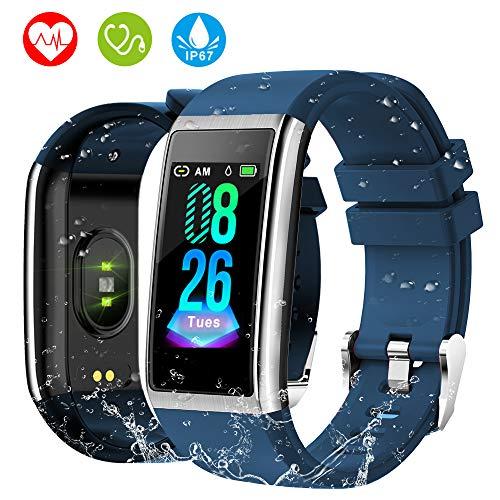 HOLALEI Fitness Armband, 1,14\'\' Bildschirm Smartwatch mit Pulsmesser Blutdruckmessung IP67 Fitness Tracker Aktivitätstracker Schrittzähler Uhr für Damen Herren Anruf SMS Beachten für iPhone Android