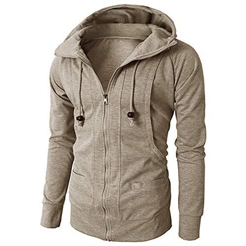 Qmber Kapuzenjacke Herrenjacke Sweatjacke Parka Mit Kapuze Hoodies Outdoor Coat Strickjacke Täglichen Mäntel Outwear Herbst Winter Tops,Langarm Sport Zipper Pullover Bluse(Khaki3,Medium) Medium Zipper Hoodie