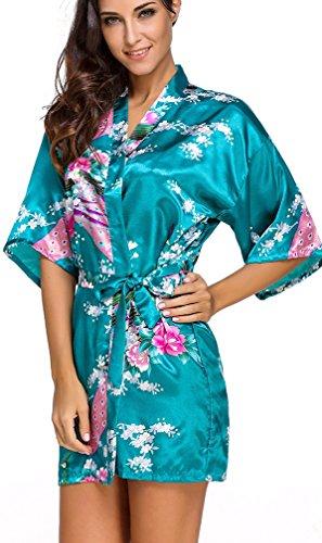 FLYCHEN Damen satin Morgenmantel Pfau und Blüten japanische kurze Kimonos Dunkelgrün-7