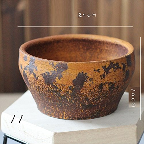 NOHOPE Retro Keramik Vasen Emulation Blume sukkulenten Pflanzen Blume Container Home Decor grobe Keramik Blumentopf Ornamente,J/20*10cm