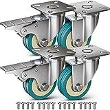 GBL - Set di 4 Ruote Per Carrello + 16 Vite, 50mm 200KG Rotelle per Mobili, Ruote Girevoli Gomma