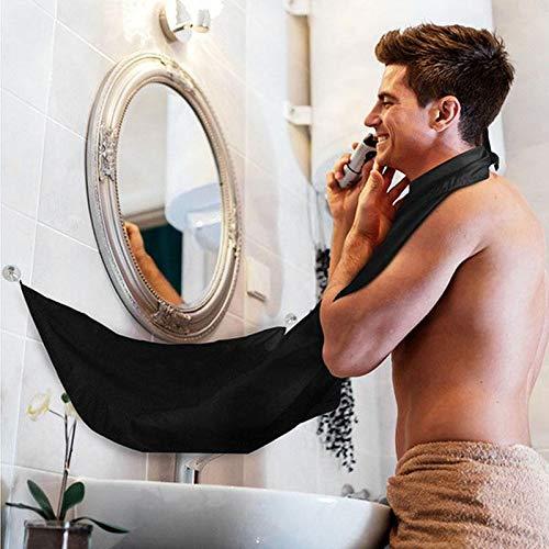 Kaymayn mantellina da barba, barba e capelli, nylon grembiule regolabarba con ventose da barba bavaglino grembiule per uomini, impermeabile, con cerniera regolabile, da uomo regali