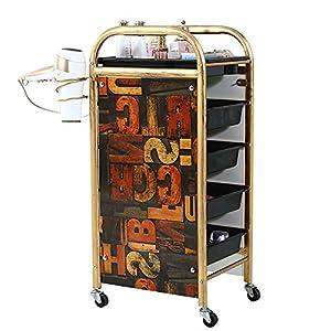 Salon SPA Friseurwagen Barbier Schönheit Lagerung Wagen Färbung Tablett mit 5 Schubladen Haartrockner Halter zum Werkzeug Lagerung