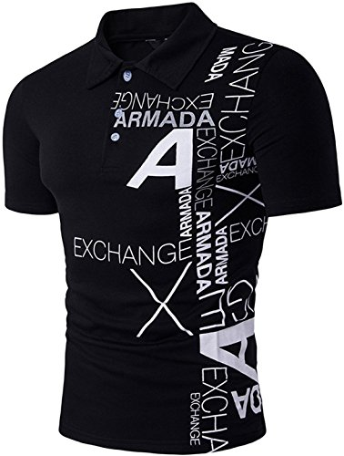 Sportides Men's Fashion Fashion Printing Short Sleeve Polo Shirt T-shirt Tops JZA092 Black S (Check-polo-t-shirt)