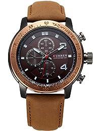 Correa de cuero reloj de pulsera cronógrafo Curren señores marrón negro oro rosa