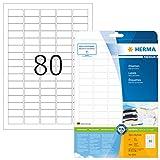 Herma 4336 Universal Etiketten (35,6 x 16,9 mm) weiß, 2.000 Aufkleber, 25 Blatt A4 Premium Papier matt, bedruckbar, selbstklebend