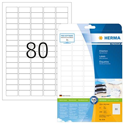 Herma 4336 Universal Etiketten (35,6 x 16,9 mm) weiß, 2.000 Klebeetiketten, 25 Blatt Premium DIN A4 Papier matt, bedruckbar, selbstklebend