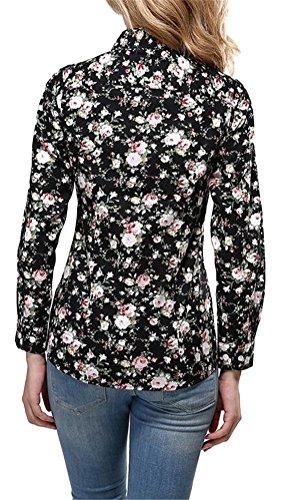 Brinny Femmes Chemise Manches Longues Rose Fleur Chemisier En Mousseline De Soie Chemises Shirt G Style